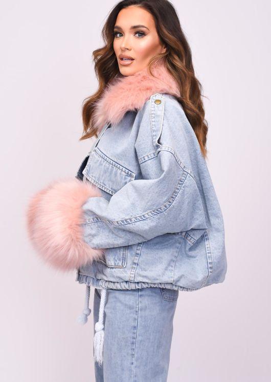 Oversized Faux Fur Collar Cuff Fleece Denim Jacket Pink
