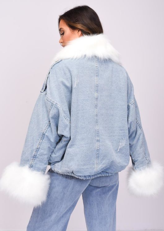 Oversized Faux Fur Collar Cuff Fleece Denim Jacket White