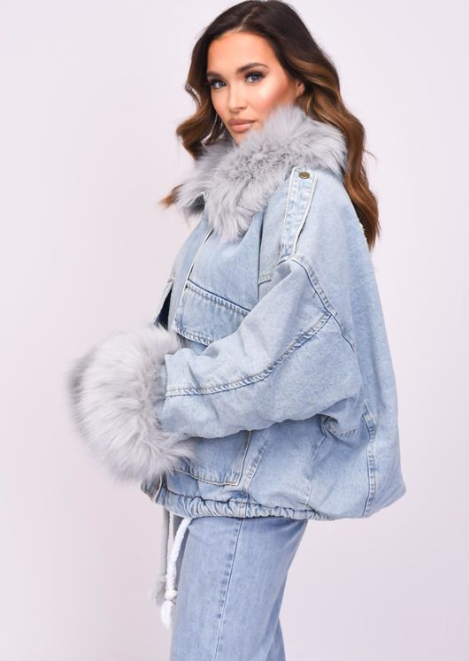 Oversized Faux Fur Collar Cuff Fleece Denim Jacket Grey