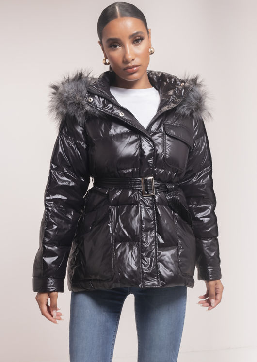 Faux Fur Hooded Belted Puffer Coat Black
