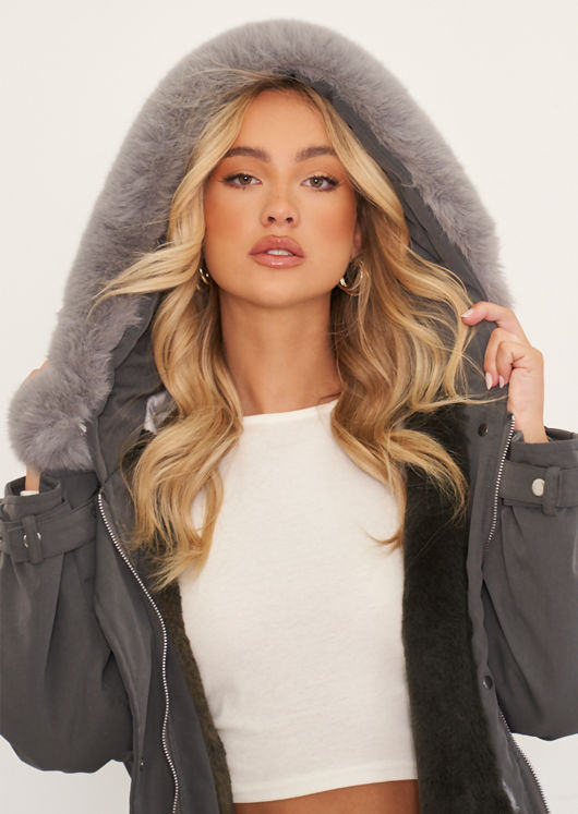 Oversized Faux Fur Hooded Lined Longline Parka Coat Jacket Grey