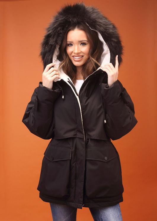 Oversized Faux Fur Hooded Velcro Fastening Parka Coat Black