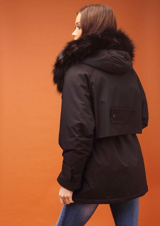Oversized Faux Fur Hooded Velcro Fastening Parka Coat Black