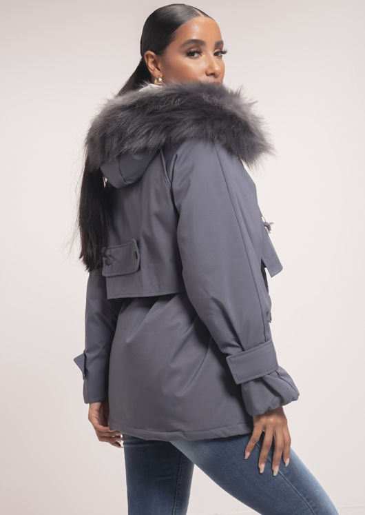 Oversized Faux Fur Hooded Velcro Fastening Parka Coat Grey
