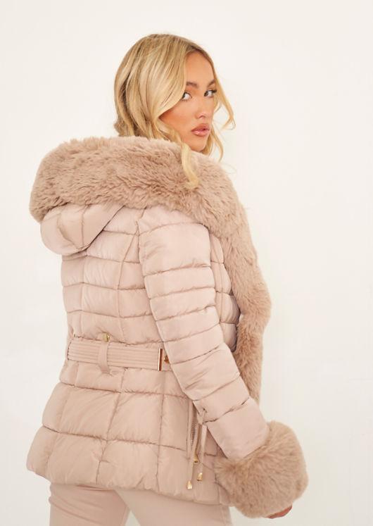 Faux Fur Hooded Puffer Panelled Coat Jacket Beige