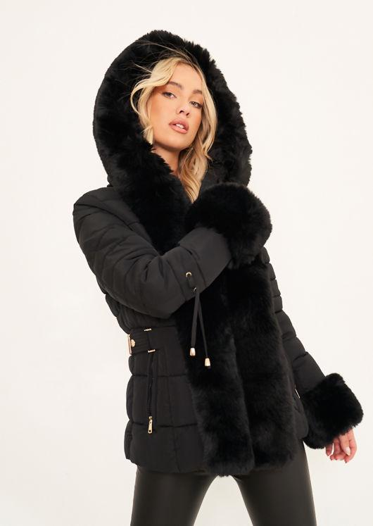 Faux Fur Hooded Puffer Panelled Coat Jacket Black
