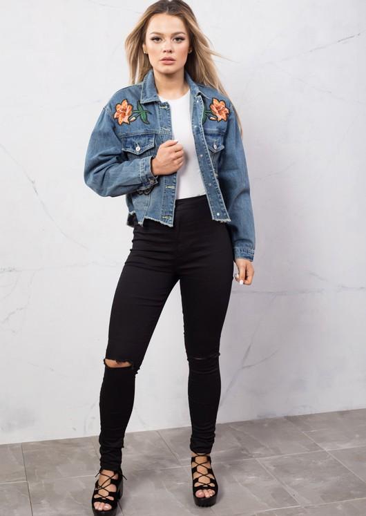 Oversized Floral Embroidered Boyfriend Crop Short Denim Jacket Blue