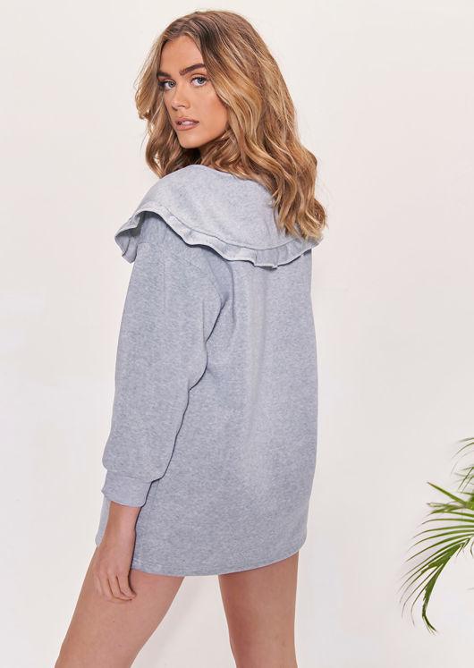 Oversized Frilled Peter Pan Collared Sweatshirt Dress Grey