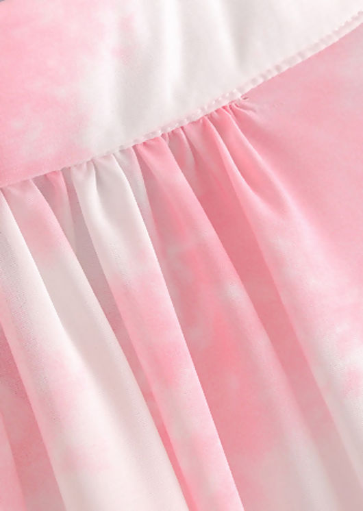 Oversized Front Drape Cut Out Button Down Shirt Dress Tie Dye Pink