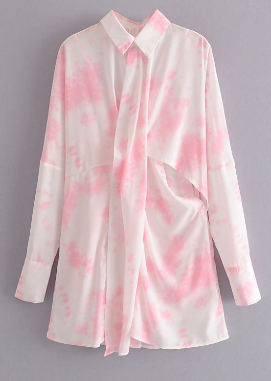 Oversized Front Drape Cut Out Button Down Shirt Dress Tie Dye Pink