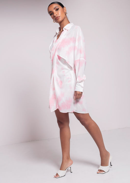 Oversized Side Cut Out Cami Shirt Dress Two Piece Tie Dye Pink
