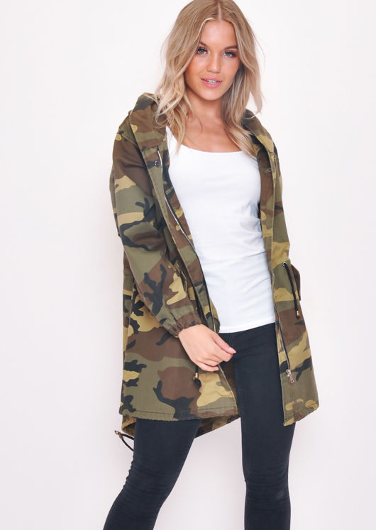 Oversized Hooded Parka Coat Camo Khaki Green