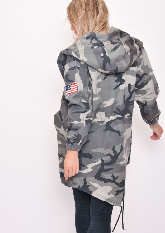 Oversized Hooded Parka Coat Camo Grey