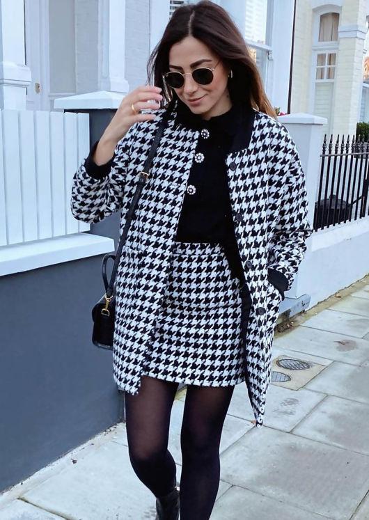 Oversized Houndstooth Longline Jacket Mini Skirt Co Ord Set Black