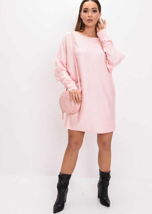 4e25f1cdbf6 Oversized Knit Jumper Dress Pink