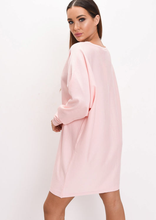 Oversized Knit Batwing Jumper Dress Pink