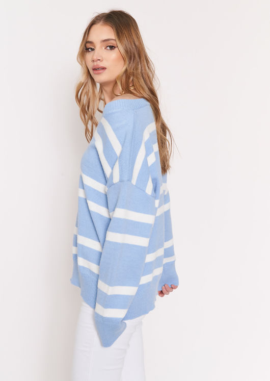 Oversized Knitted Long Sleeve Striped Sweater Top Blue