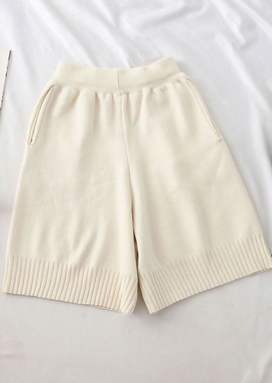 Oversized Knitted Shorts Beige