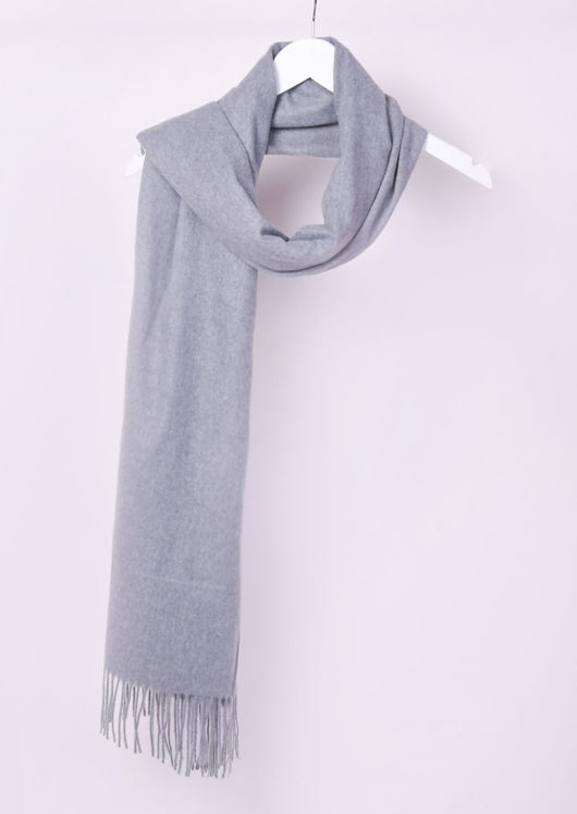 Oversized Long Cashmere Fringe Knit Scarf Grey