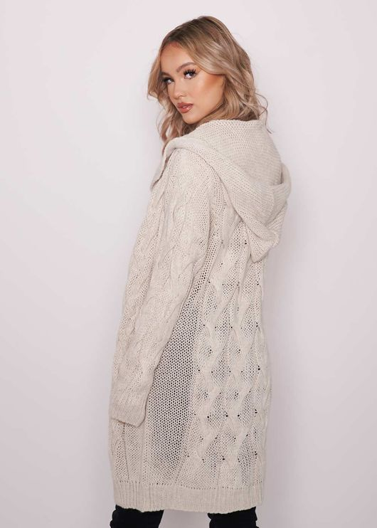 Oversized Longline Cable Knit Hooded Cardigan Top Beige