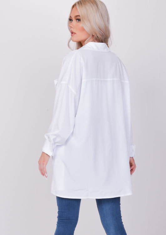 Oversized Long Sleeved Collared Shirt White