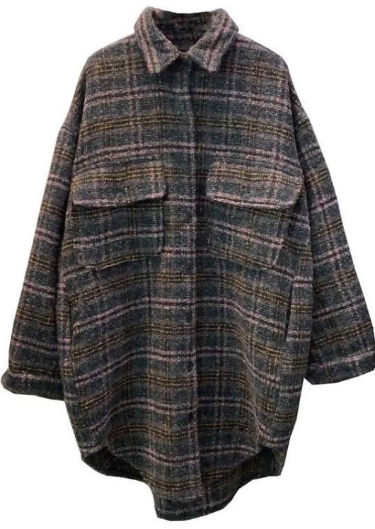 Oversized Long Sleeves Checked Tweed Shacket Brown