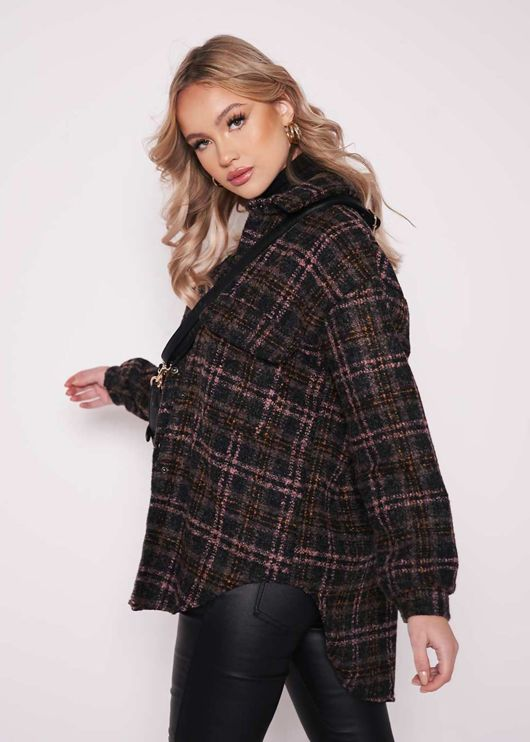 Oversized Long Sleeves Checked Tweed Shacket Pink