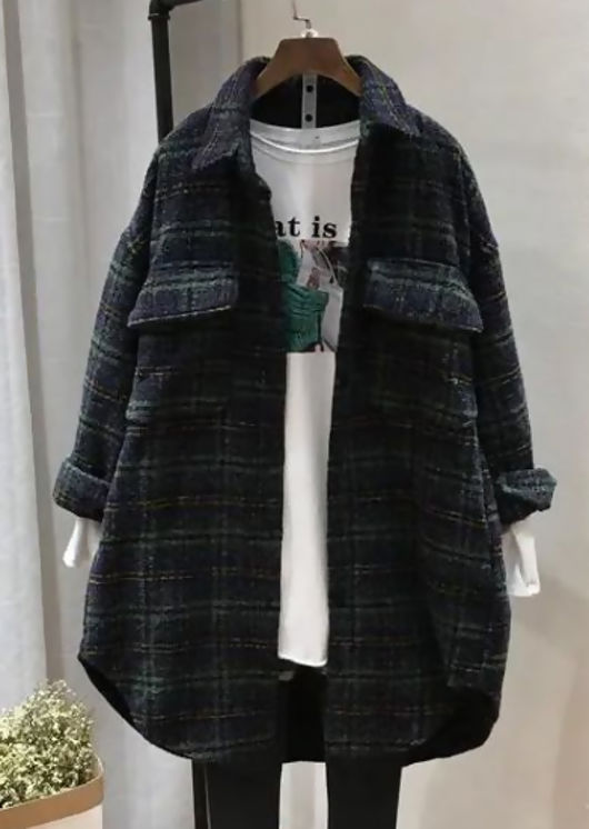 Oversized Long Sleeves Checked Tweed Shacket Green