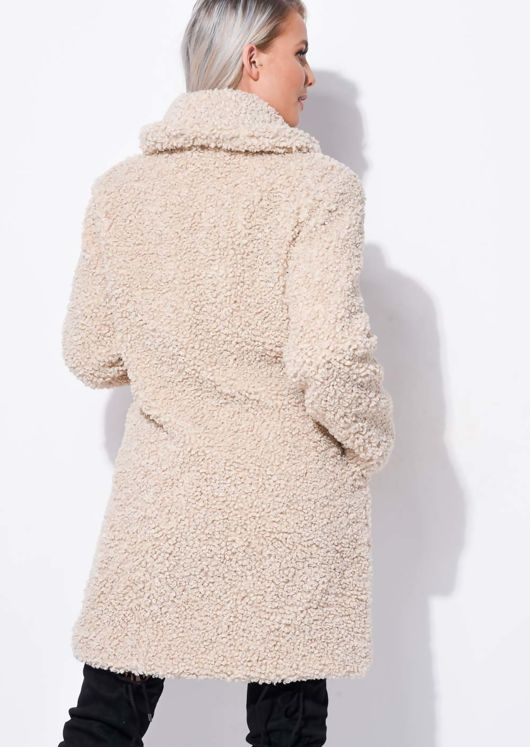 Oversized Longline Borg Teddy Coat Beige