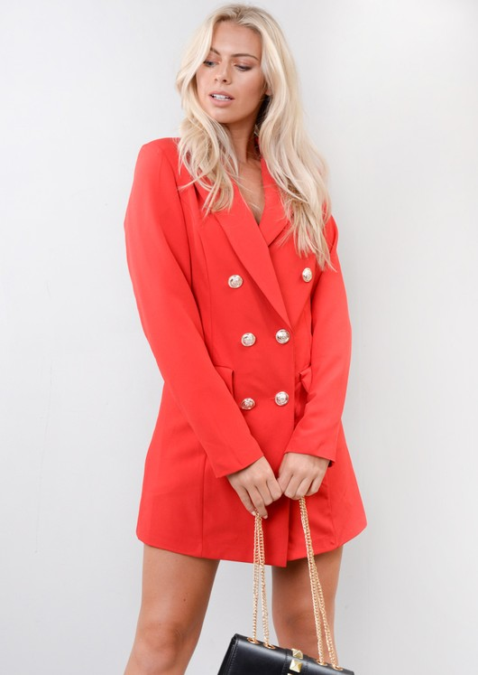 f104a6f3d4bb Oversized Longline Military Tailored Blazer Dress Red
