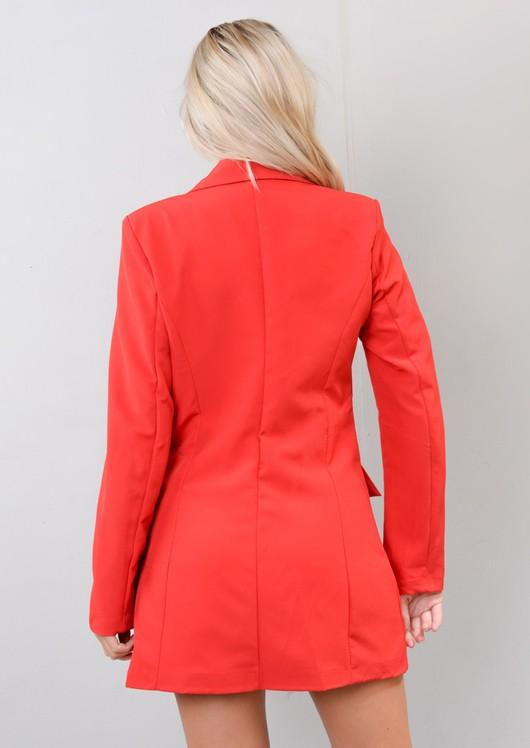 Oversized Longline Military Tailored Blazer Dress Burgundy Red