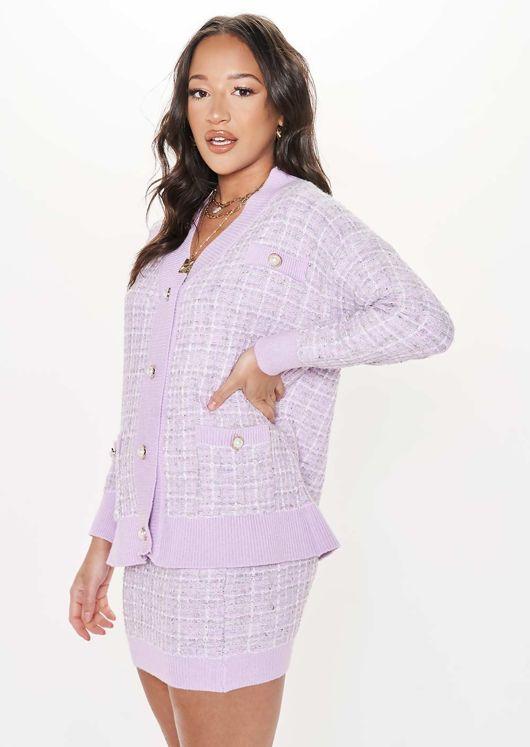 Oversized Longline Plaid Cardigan Top Mini Skirt Co Ord Set Purple