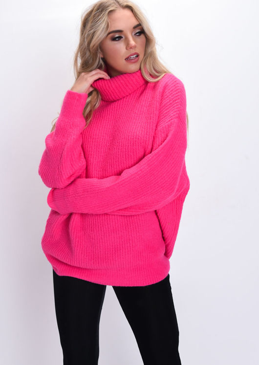 Oversized Neon Roll Neck Ribbed Knit Jumper Pink