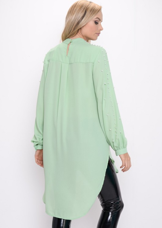 Oversized Pearl Embellished Longline Top Green