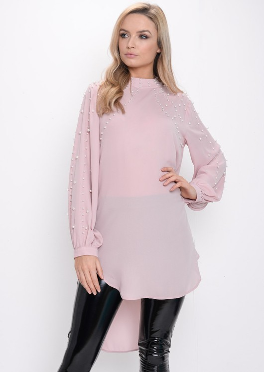 Oversized Pearl Embellished Longline Top Pink