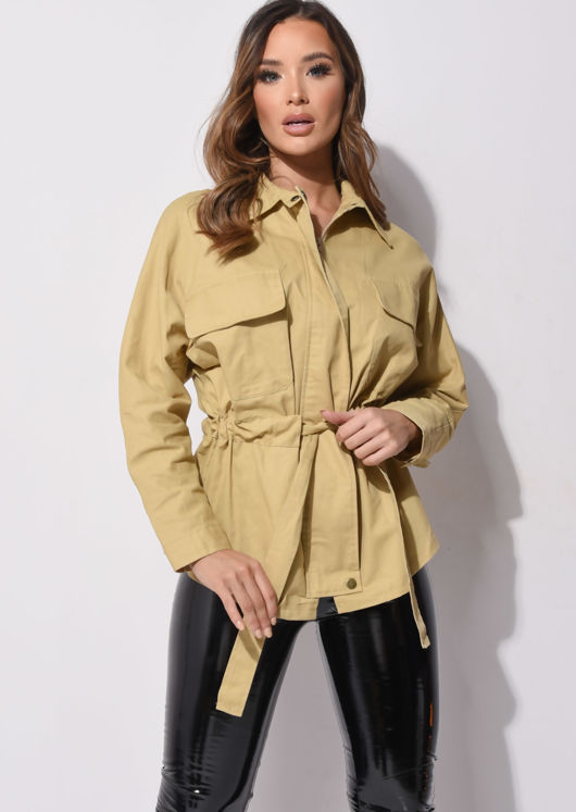 Oversized Pocket Front Utility Jacket Yellow