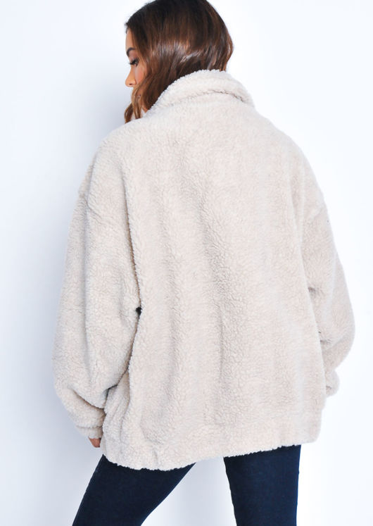 Oversized Pockets Zip Front Borg Jacket Beige