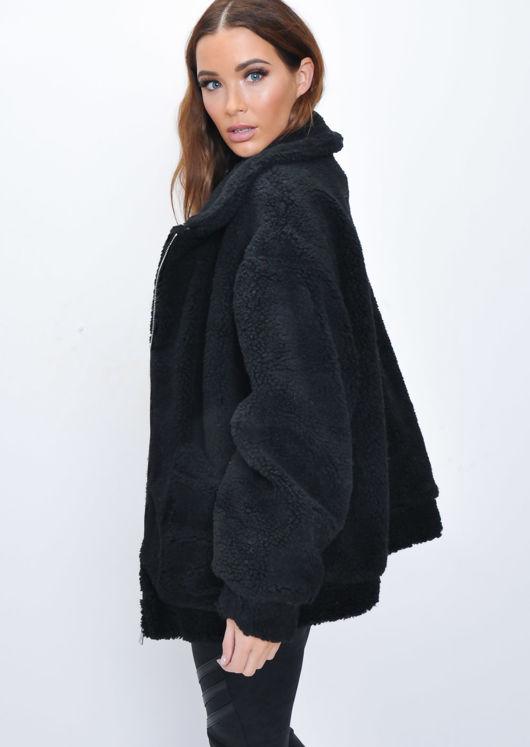 Oversized Pockets Zip Front Borg Jacket Black