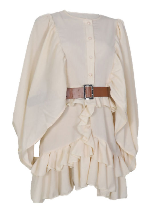 Oversized Puff Sleeve Front Button Down Frilled Mini Dress Beige