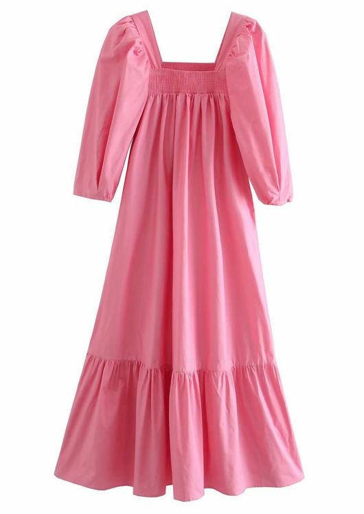Oversized Puff Sleeved Front Shirred Neckline Midi Dress Pink
