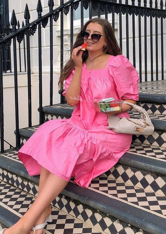 Oversized Puff Sleeved Front Shirred Neckline Smock Midi Dress Pink