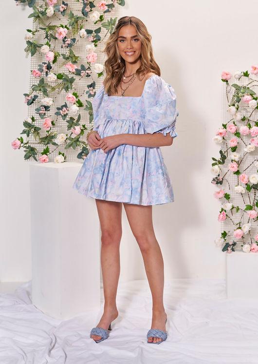 Oversized Puff Sleeved Mini Smock Dress Tie Dye Blue