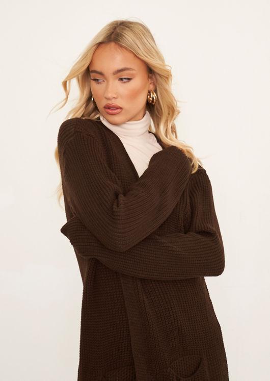 Oversized Ribbed Knit Longline Midi Cardigan Brown