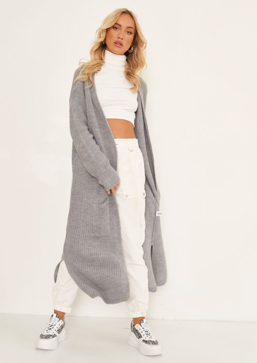 Oversized Ribbed Knit Longline Midi Cardigan Grey