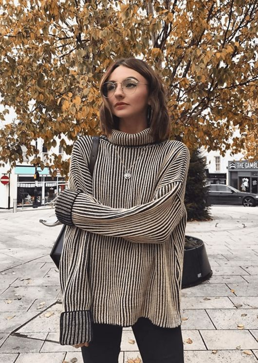 Oversized Ribbed Stripe Knit Jumper Beige