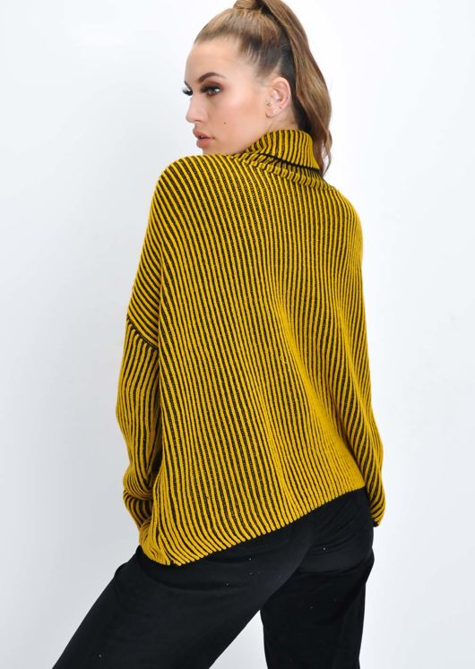 Oversized Ribbed Stripe Knit Jumper Mustard Yellow
