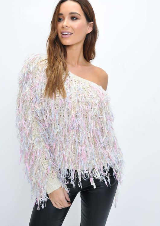 Oversized Shaggy Textured Cropped Jumper Multi