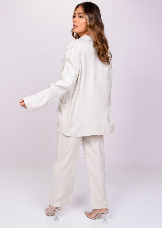 Oversized Slinky Blazer Loose Fit Pants Co Ord Set Beige