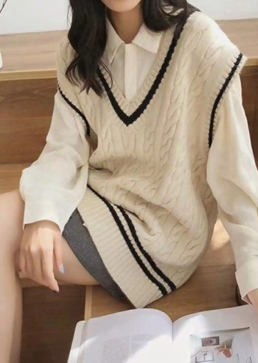 Oversized Striped Cable Knit Vest Top Beige