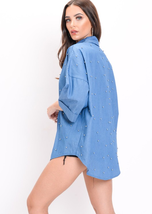 Oversized Stud Denim Shirt Blue